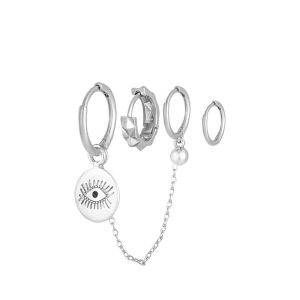 Oorbellen set Diamond Eye – zilver